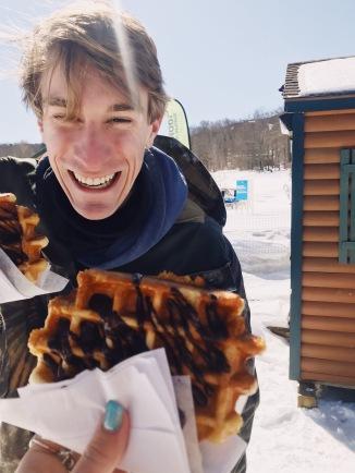happy Thomas with a waffle