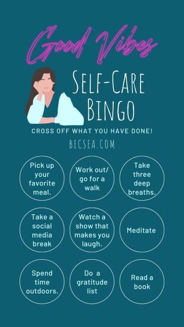 Blue and White Self-Care Bingo Card